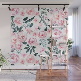 Floral Rose Watercolor Flower Pattern Wall Mural