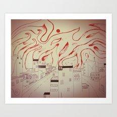 Burning city Art Print
