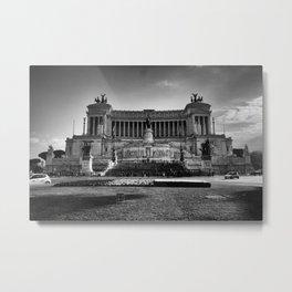 Piazza Venezia Black and White Metal Print