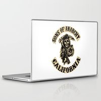 sons of anarchy Laptop & iPad Skins featuring Sons of anarchy Motorcycle club by OverClocked