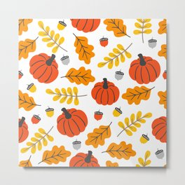 Pumpkins and fall leafs and foliage pattern Metal Print
