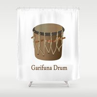 drum Shower Curtains featuring Garifuna Drum by Afro-latin Publishing