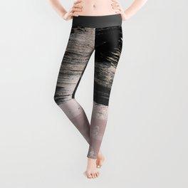 Abstract blush pink black gray gold glitter brushstrokes Leggings