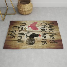Wicked Chickens Rustic Kitchen Art Country Farmhouse Bistro Art A802 Rug