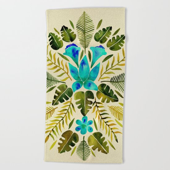 Tropical Symmetry – Turquoise & Olive Palette Beach Towel