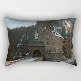 Fairytale Castle in a winter forest in Germany - Landscape and Architecture Rectangular Pillow