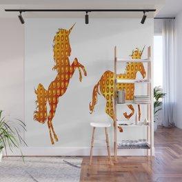 Golden couple unicorns-White Wall Mural