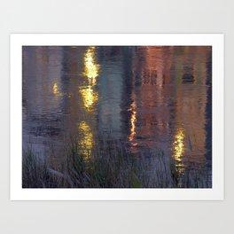 Golden Water Reflections at Sunset Lao Cai City, Vietnam Art Print