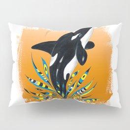 Cute Orca Whale Orange Doodle Splash Pillow Sham