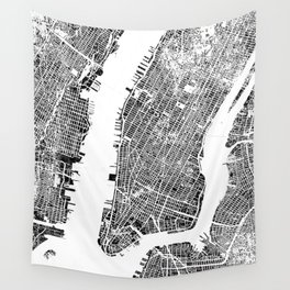 New York City Map United States White and Black Rubbing Wall Tapestry