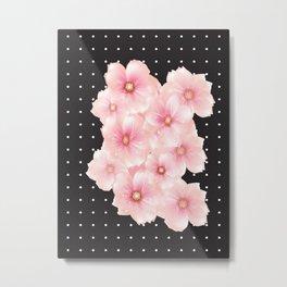 Pink flowers - Polka dots Metal Print