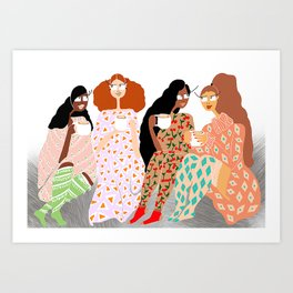 Cappucino with friends Art Print