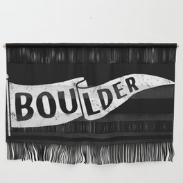 Boulder Colorado Pennant Flag B&W // University College Dorm Room Graphic Design Decor Black & White Wall Hanging