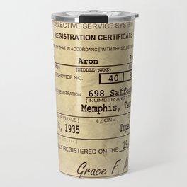 Elvis Presley Selective Service Certificate Travel Mug