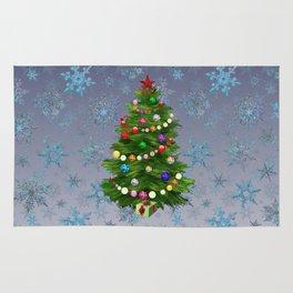 Christmas tree & snow v.2 Rug