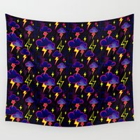 lightning Wall Tapestries featuring Lightning Storm by Andrea Stark