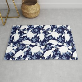 LeatherBack Sea Turtle print pattern Nautical Rug
