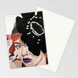 Lady with Flower Stationery Cards
