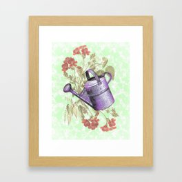 Floral with Watering Can Framed Art Print