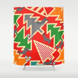 Retro deer and Christmas trees Shower Curtain