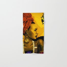 Motherland Africa, African American Female form masterpiece landscape painting Hand & Bath Towel