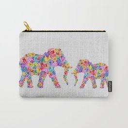 Floral Elephants Carry-All Pouch