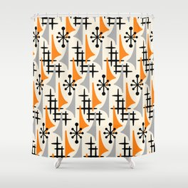 Mid Century Modern Atomic Wing Composition Orange Gray Shower Curtain