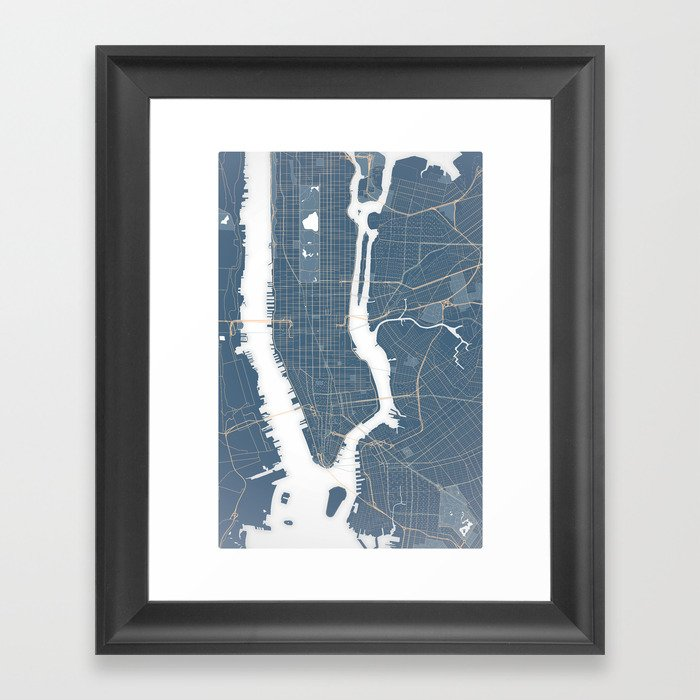Framed New York Subway Map.New York City Detailed Road Subway Map Framed Art Print By Jamiesneddon