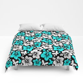 Hibiscus in Blue & White Comforters
