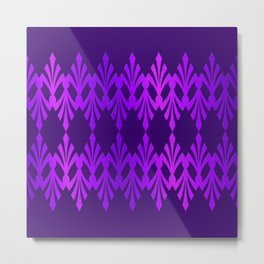 Art Deco Purple Hues Pattern Metal Print