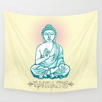 namaste Wall Tapestries featuring Buddha Namaste by SofiaRoseSaid