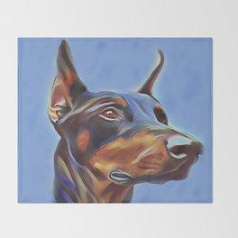 Blue Doberman Throw Blanket