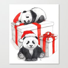 Christmas-Panda's babies g144 Canvas Print