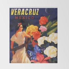 Veracruz Travel Poster Throw Blanket