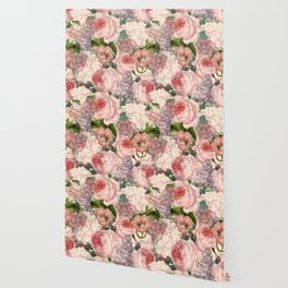 Vintage & Shabby Chic Pink Dark Floral Roses Lilacs Flowers Watercolor Pattern Wallpaper