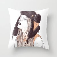 russian Throw Pillows featuring Russian by Lola Beltrán