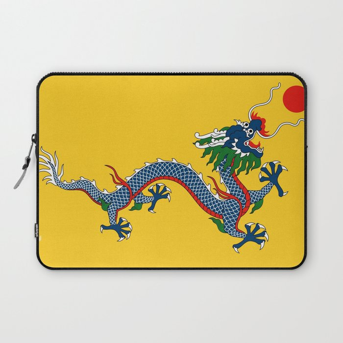 chinese dragon flag of qing dynasty laptop sleeve by oldking