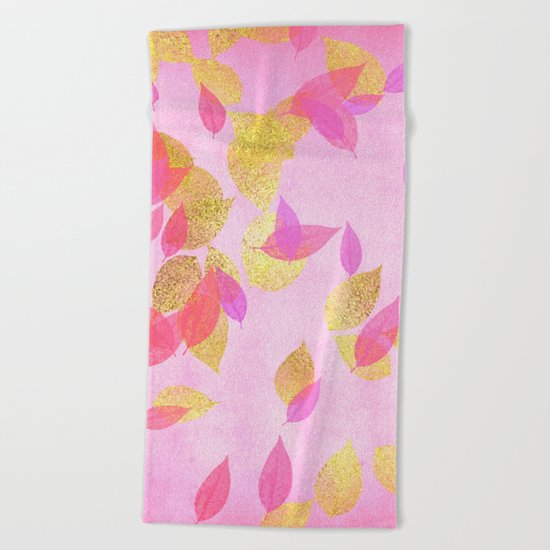 Autumn-world 5 - gold leaves on pink backround Beach Towel