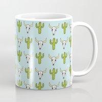 western Mugs featuring Western print by mleko
