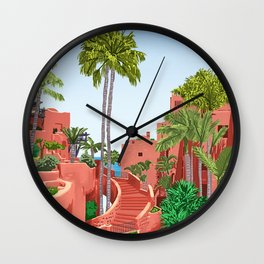 Tropical Architecture, Mexico Exotic Places Building Illustration Bohemian Painting Palm Wall Clock