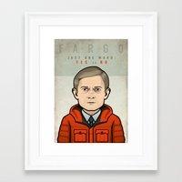 fargo Framed Art Prints featuring Fargo by Mathieu Marcou
