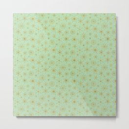 Snowflake Mandalas Mint Green Gold Metal Print