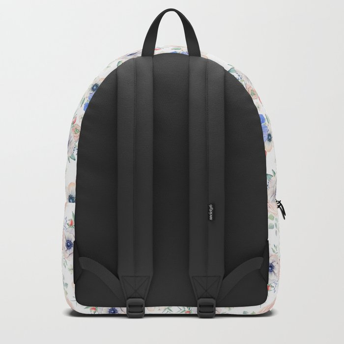 Blue and Pink Garden Flowers Backpack