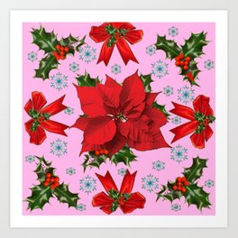 POINSETTIA SNOWFLAKES HOLLY HOLIDAY PINK DESIGN Art Print
