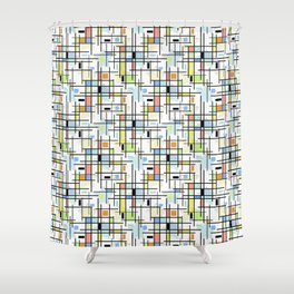 Stars on a checkered background. Shower Curtain