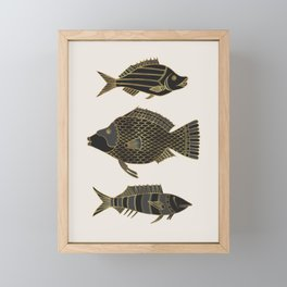Fantastical Fish 2 - Black and Gold Framed Mini Art Print