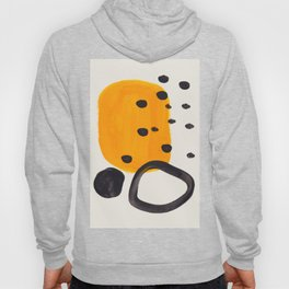Unique Abstract Unique Mid century Modern Yellow Mustard Black Ring Dots Hoody