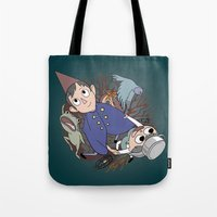 over the garden wall Tote Bags featuring Over the garden wall by podborski