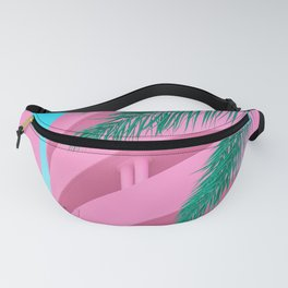 Pink Parking Garage with Green Palm Tree Fanny Pack