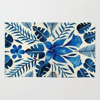 navy Area & Throw Rugs featuring Tropical Symmetry – Navy by Cat Coquillette